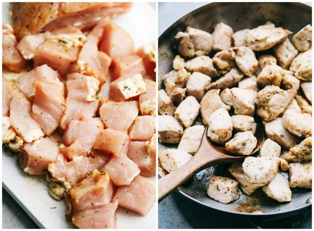First picture is un-cooked diced pork on a plate.  Second picture is cooked pork in a frying pan with a wooden spoon.