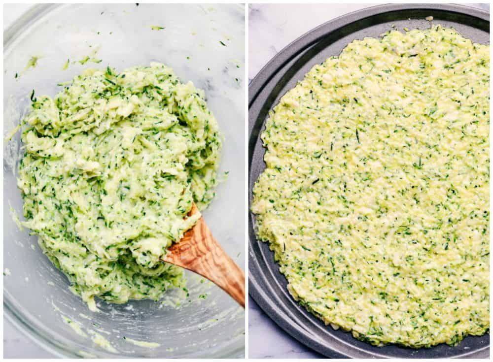 Zucchini crust mixture in a clear bowl then being spread on a pizza pan.