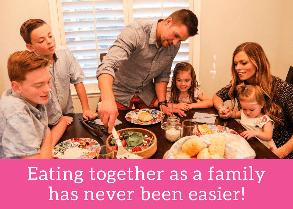 A photo of Alyssa's family to promote the tried and true challenge: Eating together as a family has never been easier!