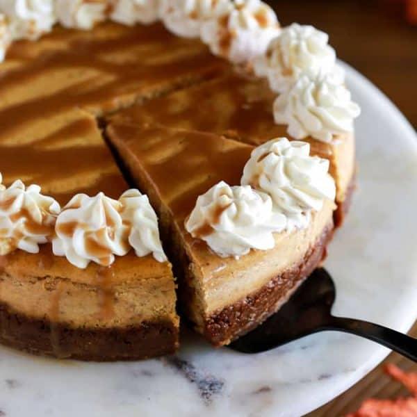 Pumpkin cheesecake with caramel sauce.