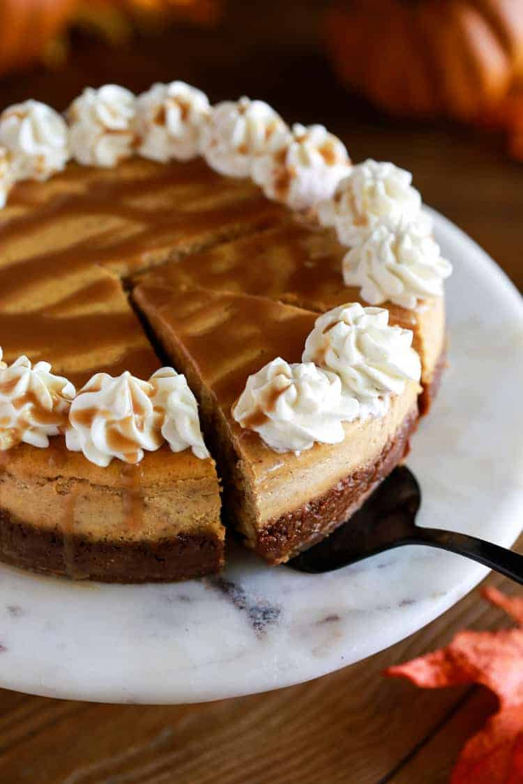 Pumpkin Cheesecake With Caramel Sauce The Recipe Critic