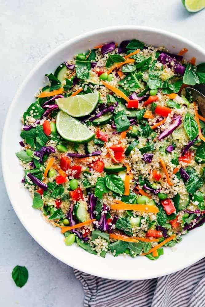 Thai quinoa salad in a white bowl.