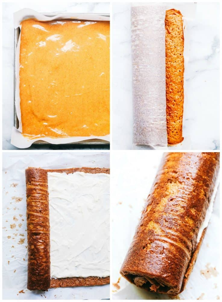 The process to make a Pumpkin Roll described in four photos.  Process from batter to adding filling and rolling the roll.