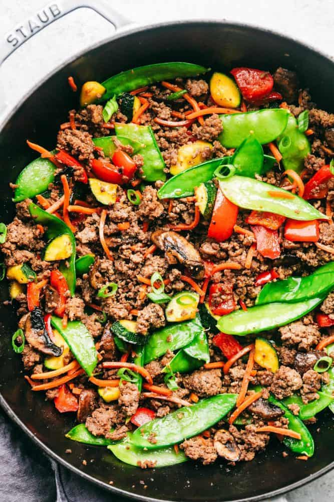 Korean ground beef stir fry in a. Staub stir fry pan.