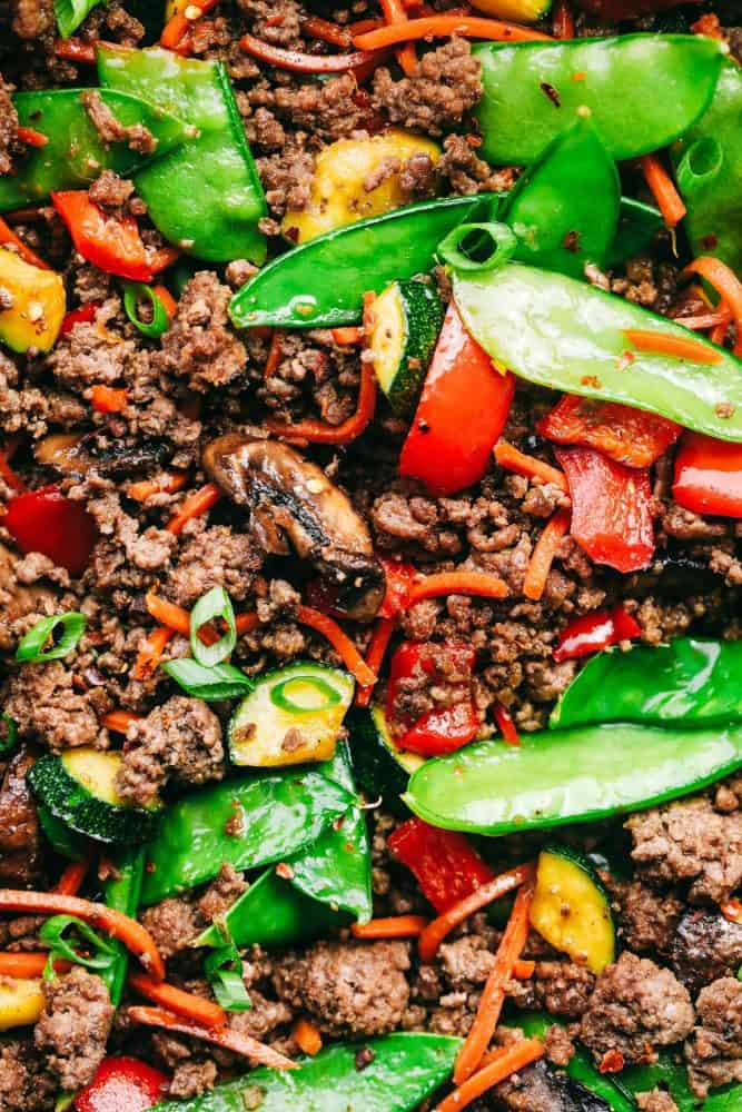 Korean ground beef stir fry up close.