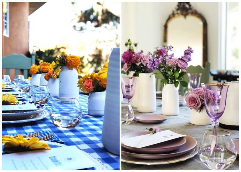 Two photos of table settings. The one of the left with a main color of blue and the left is a main color of purple.