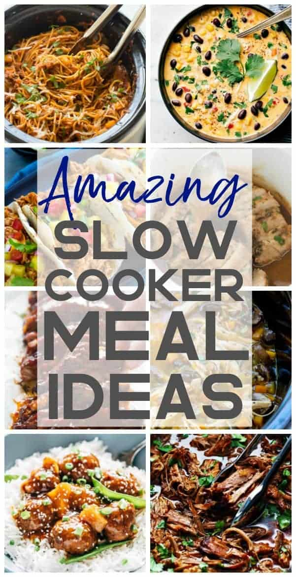 Collage of slow cooker meals.