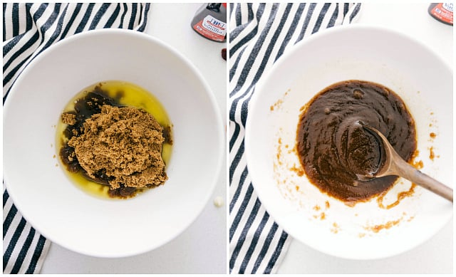 Two photos side-by-side. One on the left-hand side is a white bowl with the ingredients to make white chocolate cranberry Blondies. The second photo on the right hand side is the batter mix together using a wooden spoon and a white bowl.