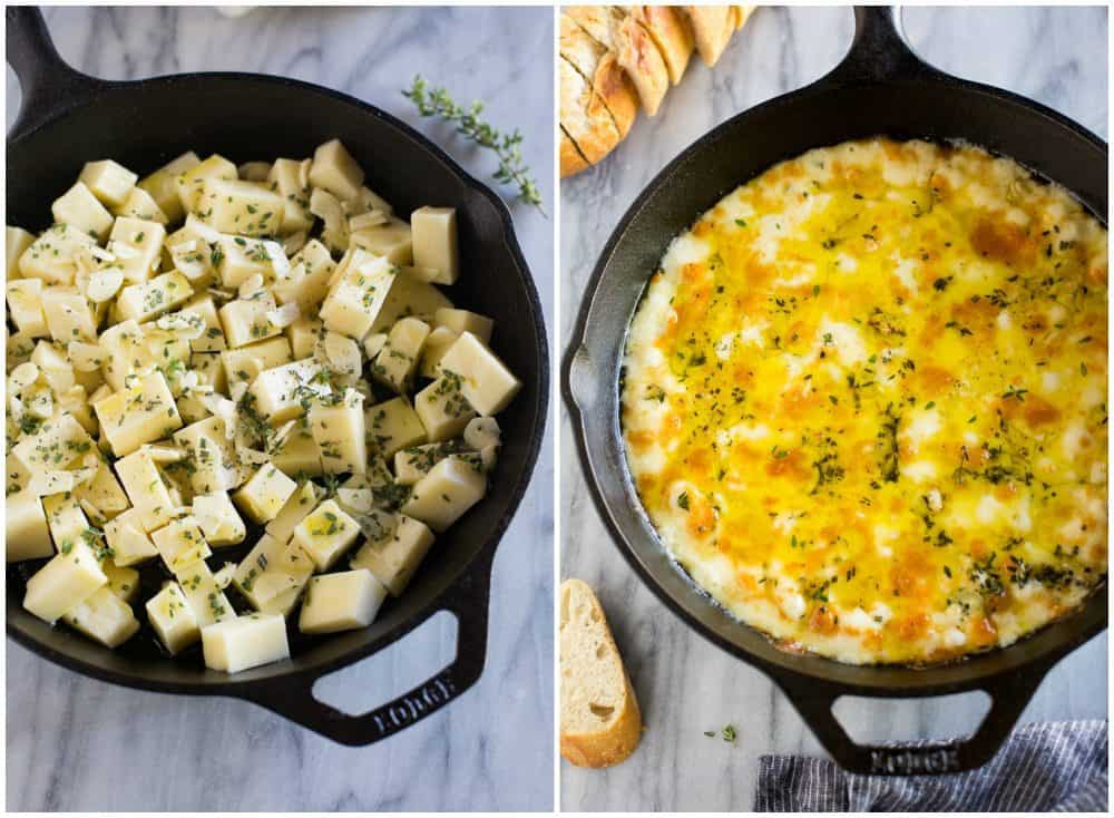 The first photo is the ingredients for baked Fontina in a skillet. The second photo is baked fontina in a skillet.