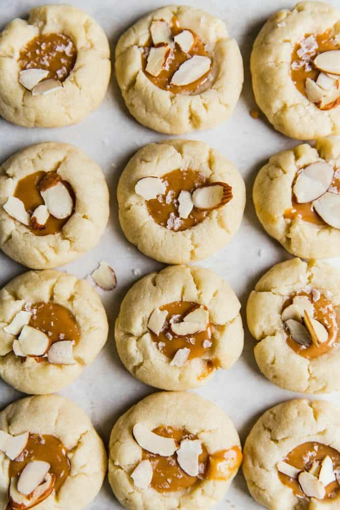 Almond thumbprint cookies with salted caramel center.