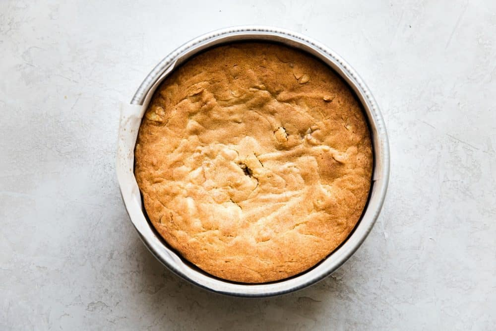Brown butter almond cake fresh out of the oven before slicing.