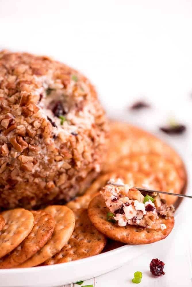Cranberry pecan cheese ball is centered  in the middle of a white serving dish with crackers wrapped around the cheese ball.