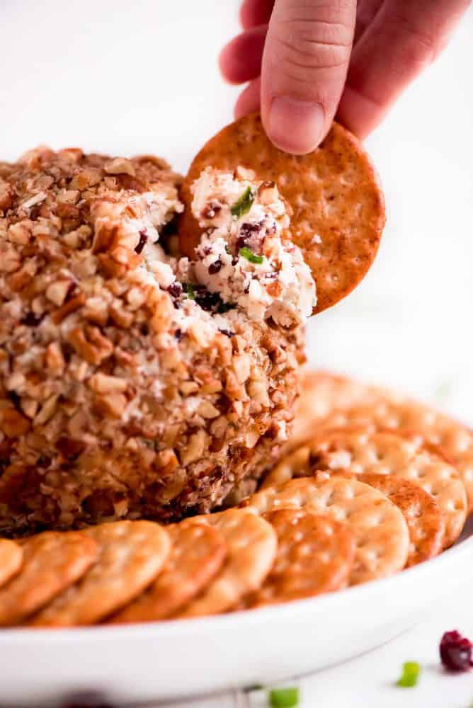 Cranberry Pecan Cheese Ball with crackers rapped around it on a white serving dish.