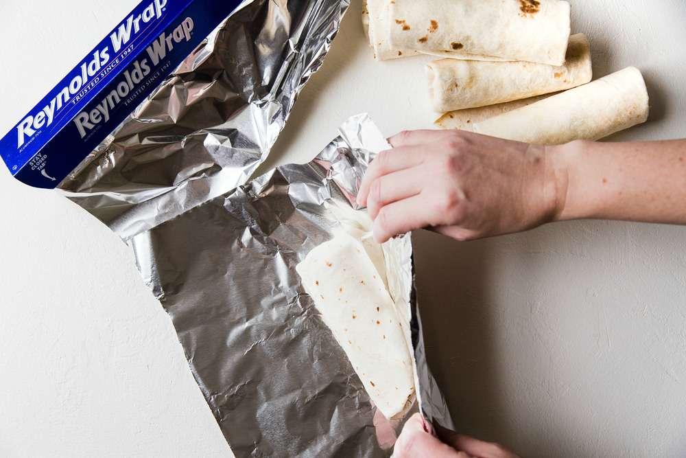 Wrap the burrito in aluminum foil.