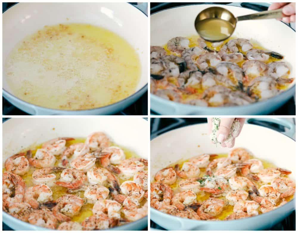The process of making lemon garlic shrimp in a skillet.
