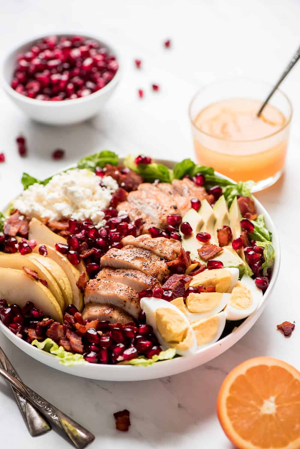 Winter cobb salad in a white bowl.