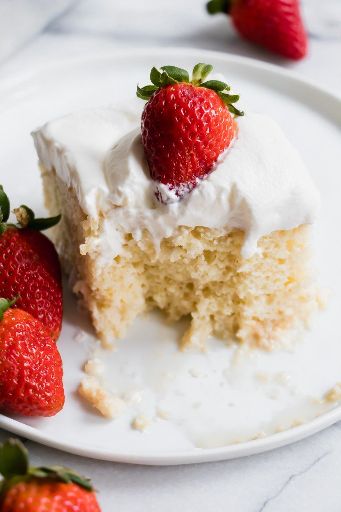 Slice of Tres leches cake.