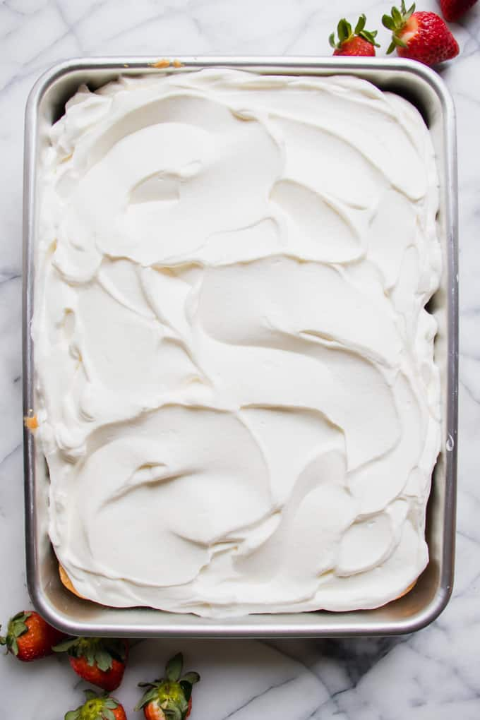 View of finished Tres leches cake from above.