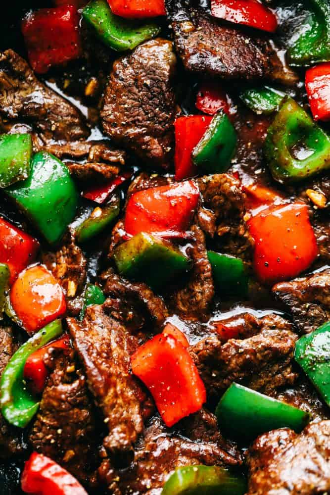 Pepper Steak Stir Fry close up.