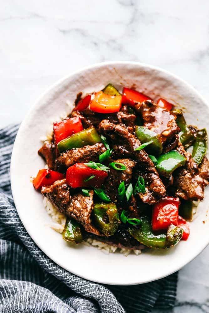 Pepper Steak Stir Fry on a plate.