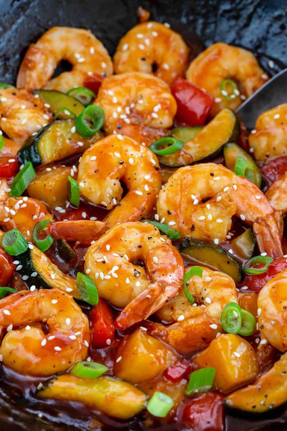 Sweet and Sour Shrimp close up.
