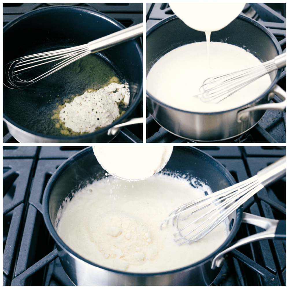 Making the creamy cheese sauce for Parmesan Scalloped Potatoes.