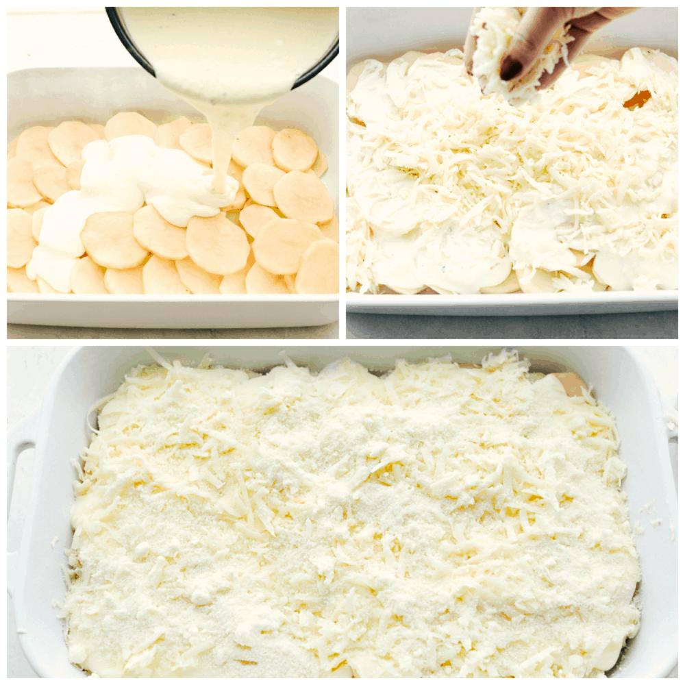 Superposez des pommes de terre, de la sauce à la crème et du fromage pour des pommes de terre festonnées parfaites.