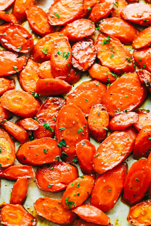 Glazed carrots on a tray.
