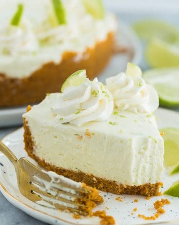 slice of no bake key lime cheesecake