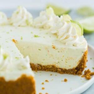 no bake key lime cheesecake on white plate