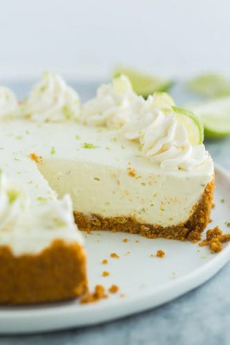 no bake key lime cheesecake on white plate