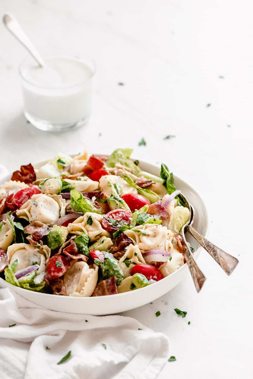 BLT Tortellini Pasta Salad in a bowl.