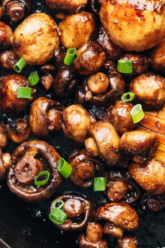Closeup of Garlic Balsamic Mushrooms