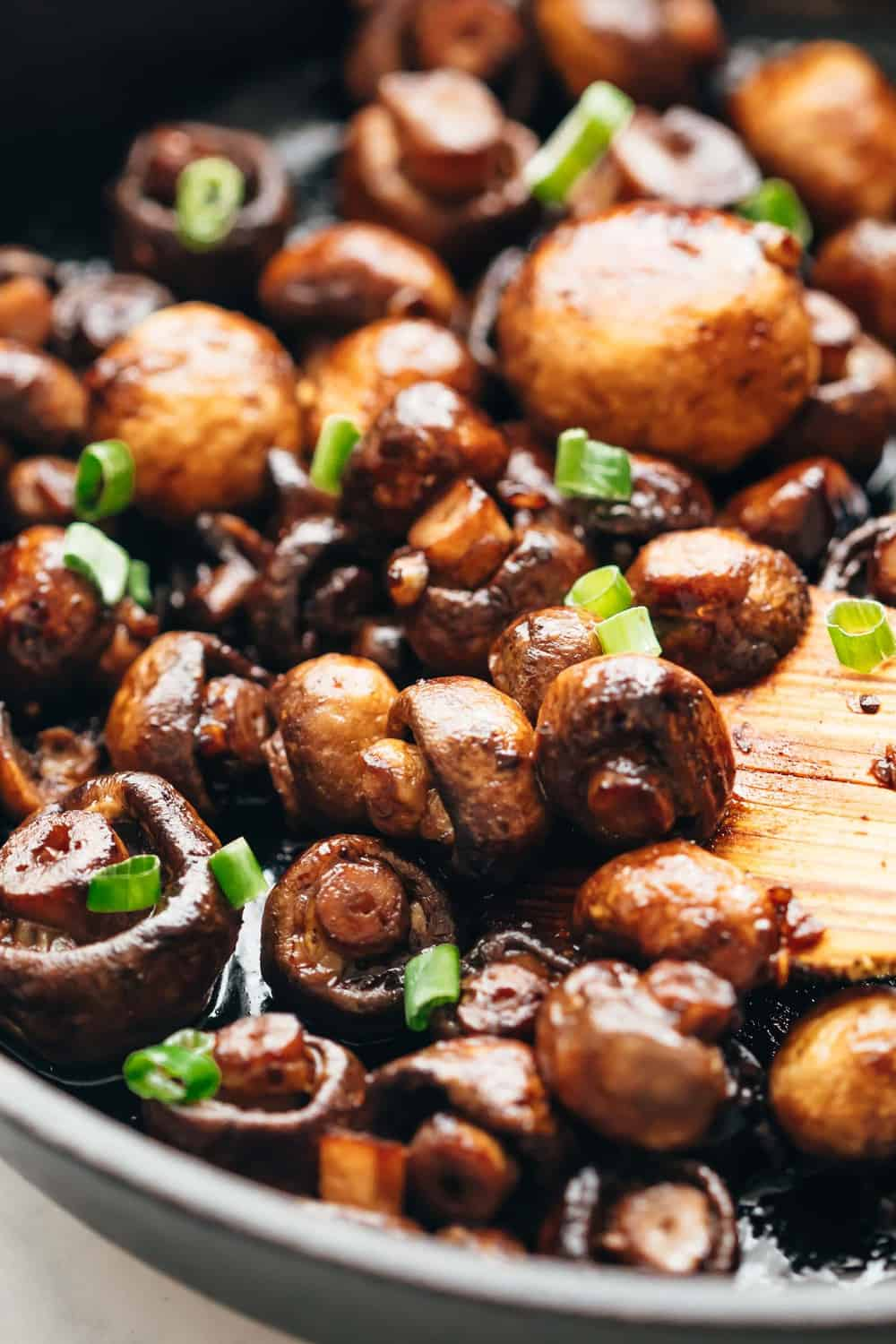 Closeup of Garlic Balsamic Mushrooms