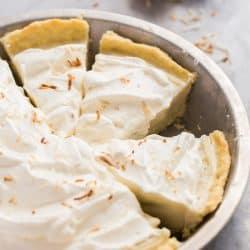 coconut cream pie sliced