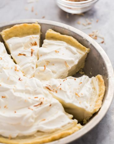 coconut cream pie sliced