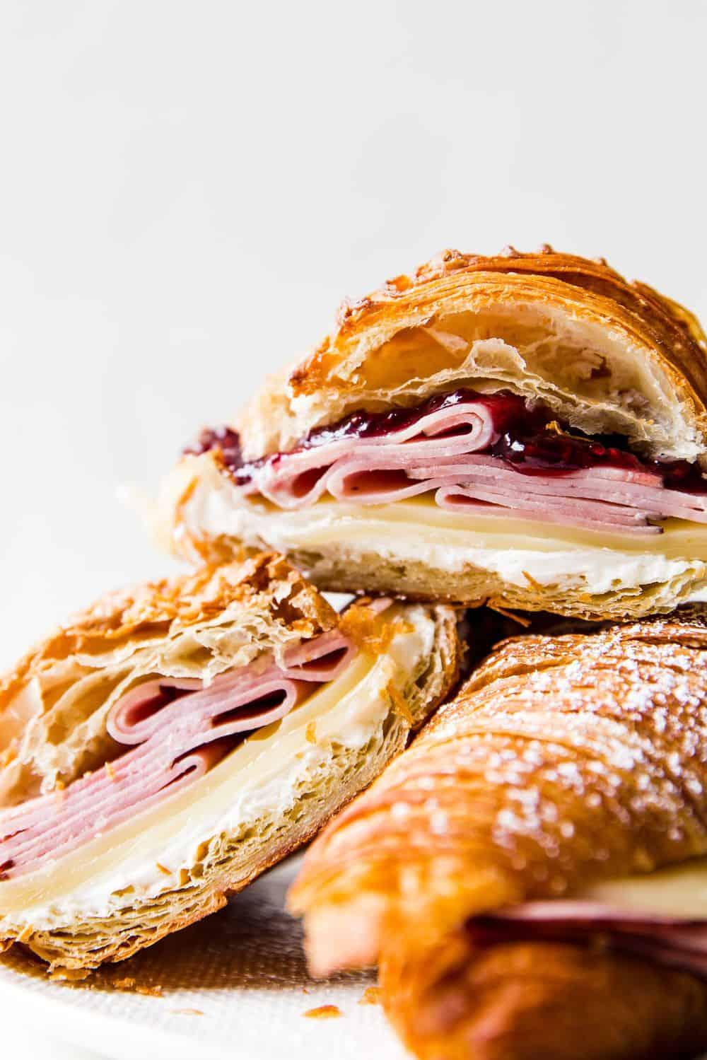 Monte Cristo Croissant Sandwiches stacked.