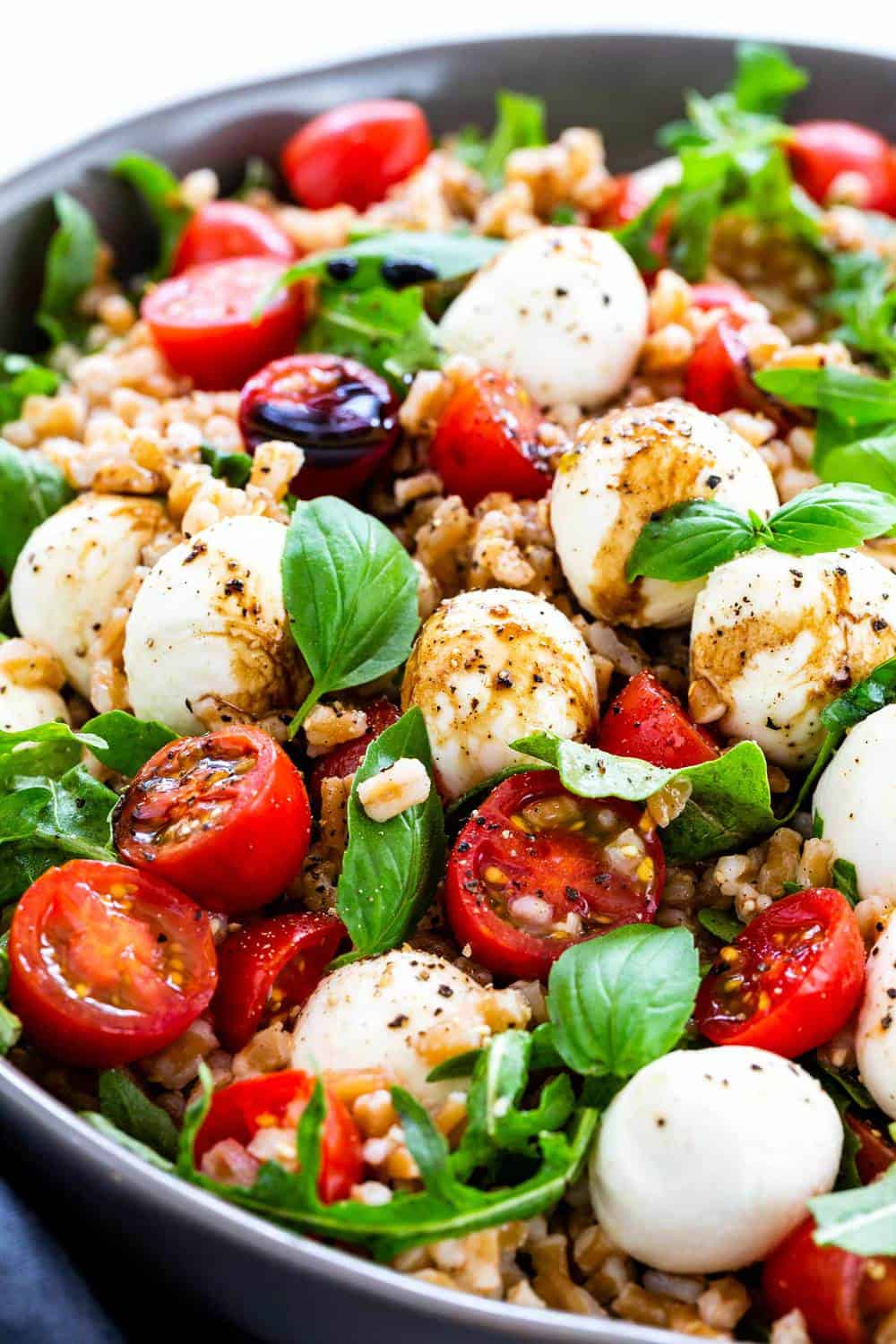 Farro Caprese Salad in a bowl.