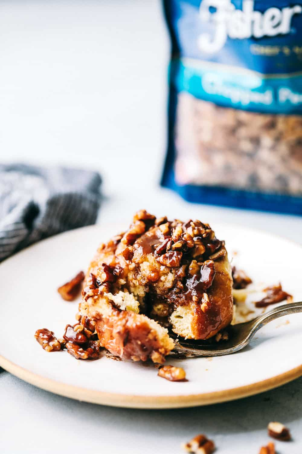 One Hour Caramel Pecan Sticky buns on a plate.
