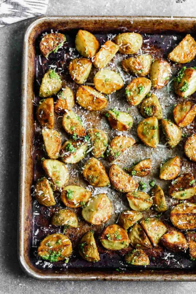Potatoes after cooking on a sheet pan.