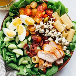 Pasta Cobb Salad served in a large bowl with vinaigrette