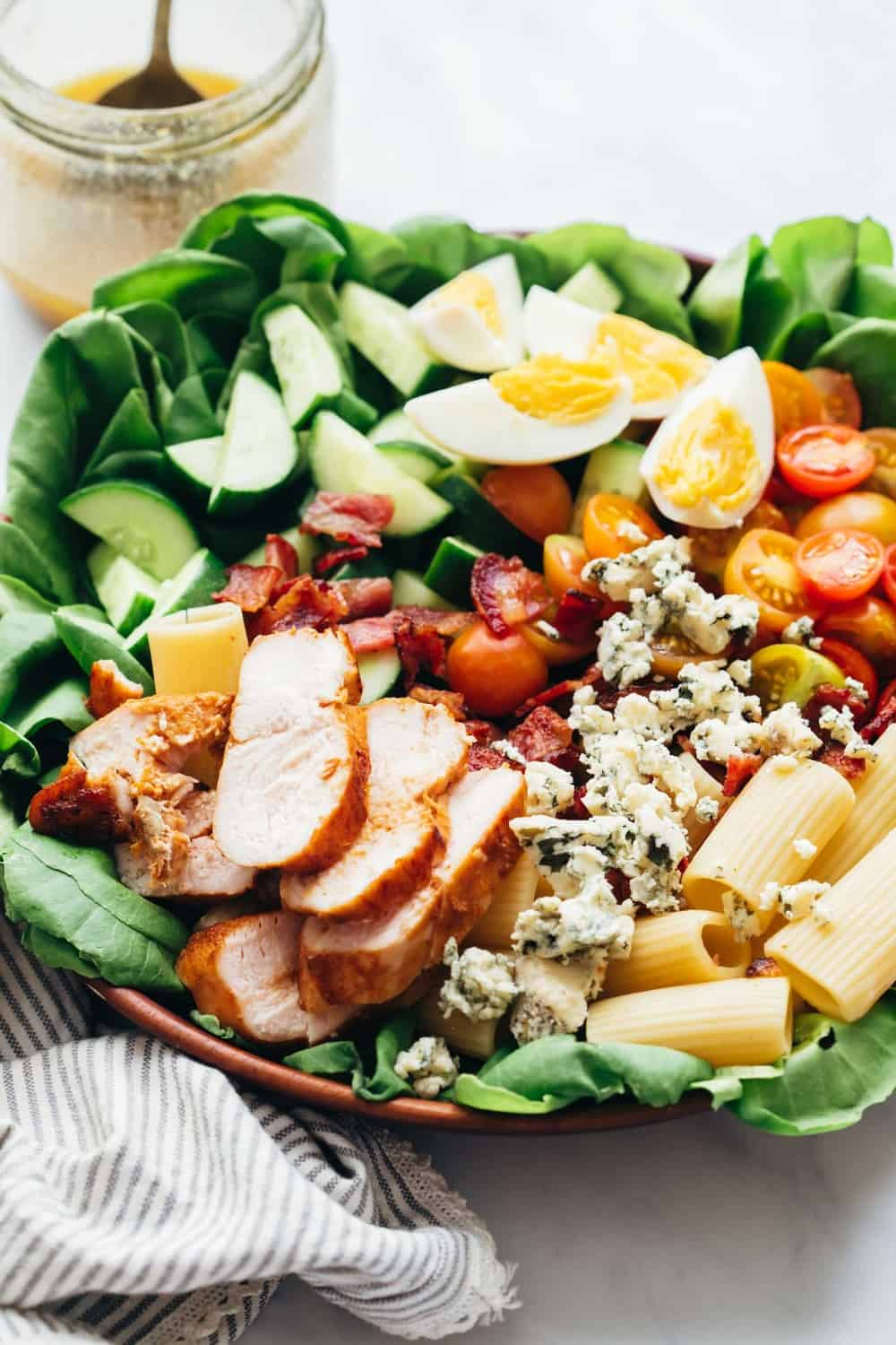 Side angle of pasta cobb salad