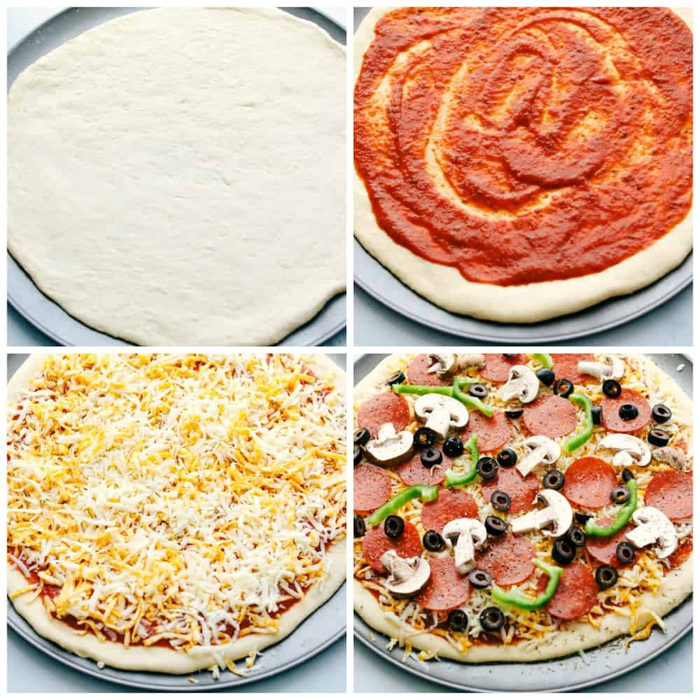 How to put together pizza.