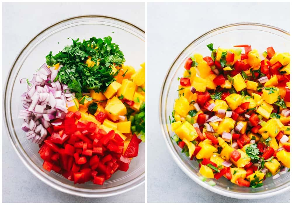 Mango salsa ingredients before and after they are mixed.