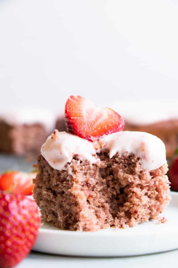 Slice of strawberry cake.