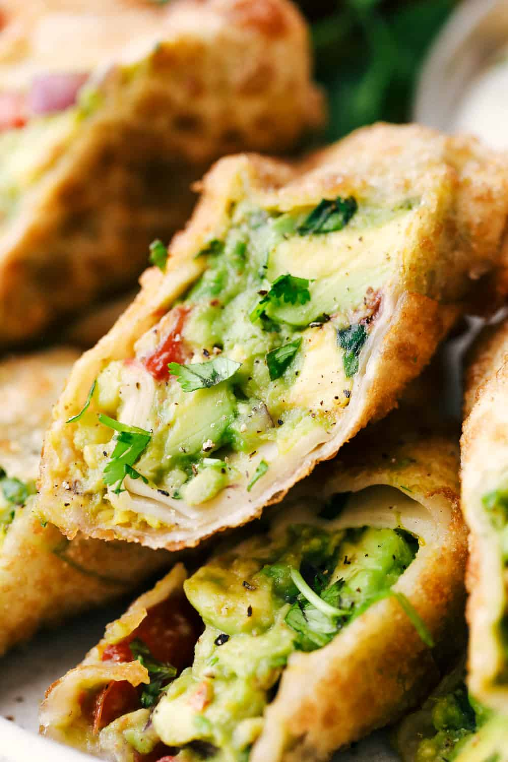 Close up of avocado egg roll