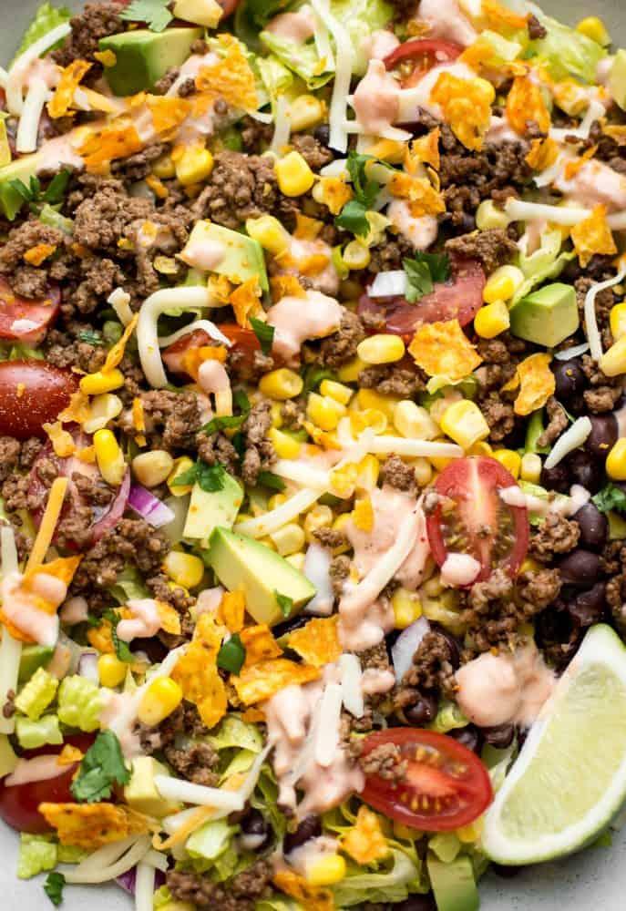 beef taco salad close up .