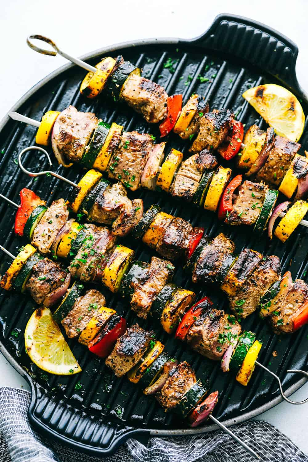 Grilled Tuscan Pork Skewerson a grill pan.