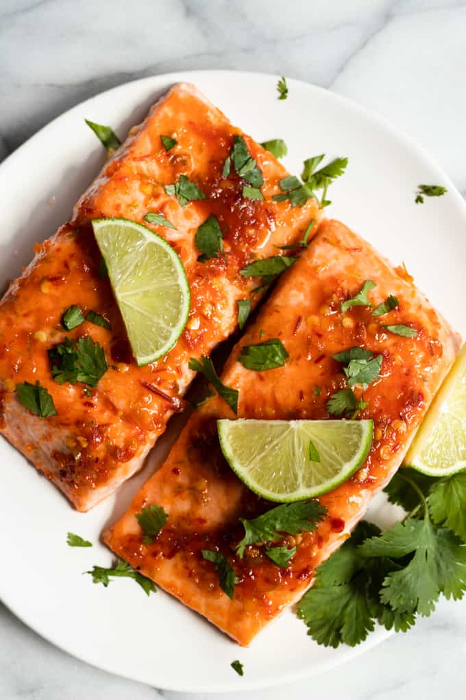 Chile lime salmon on a white plate.