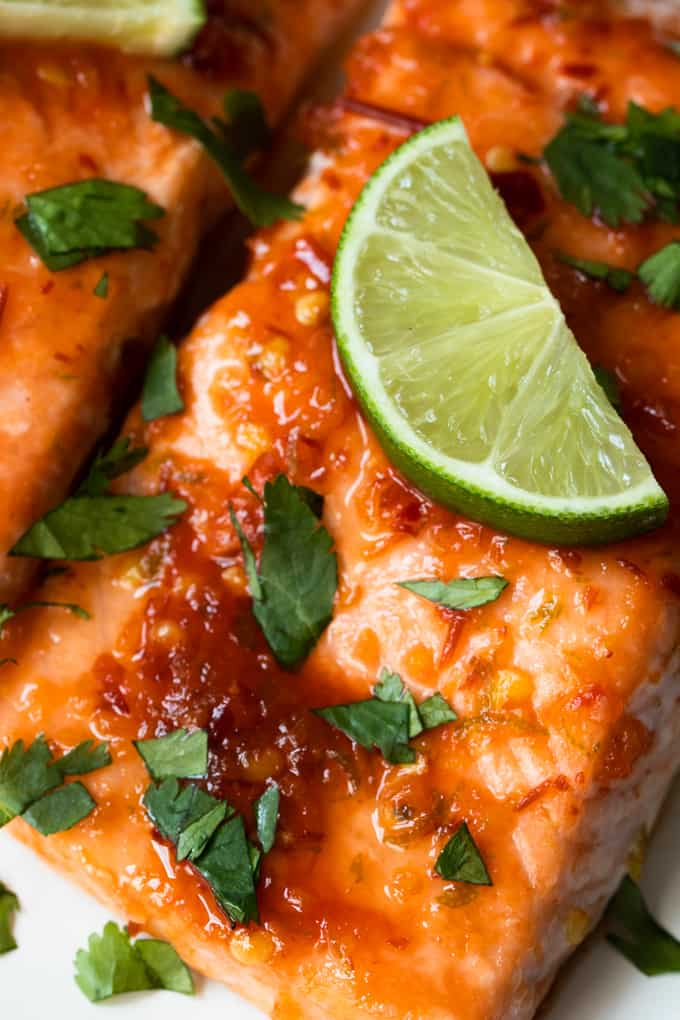 Chile Lime Salmon close up.